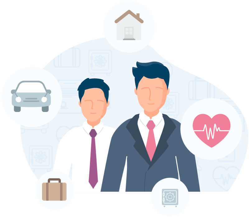 Illustration featuring two businessmen cartoons with red ties surrounded by icon bubbles featuring a home, car, briefcase, safe and heart.