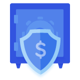 Blue icon featuring a safe or vault. A shield with a dollar sign is in front of the safe.