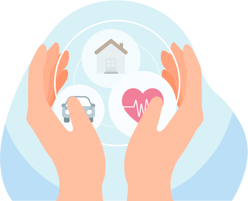 Illustration of two hands with three icons in between the hands featuring a home icon, car icon and heart monitor icon.