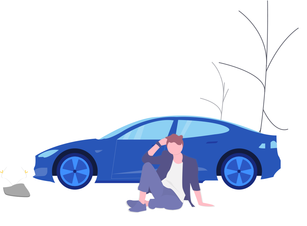 Illustration of a man sitting in front of a blue car with white trees in the background.