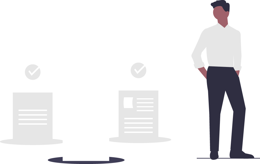 Illustration of a man with his hands in his pockets standing next to a set of three paper documents.