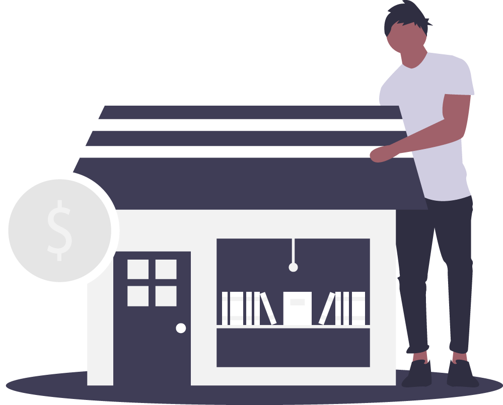 Illustration of a man holding his shop with a white dollar sign symbol to the left of it.