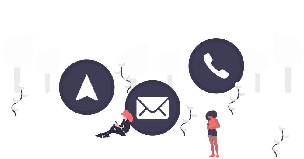 Illustration of a two people standing in front of three large circle icons featuring a direction arrow, envelope for email and phone icon.