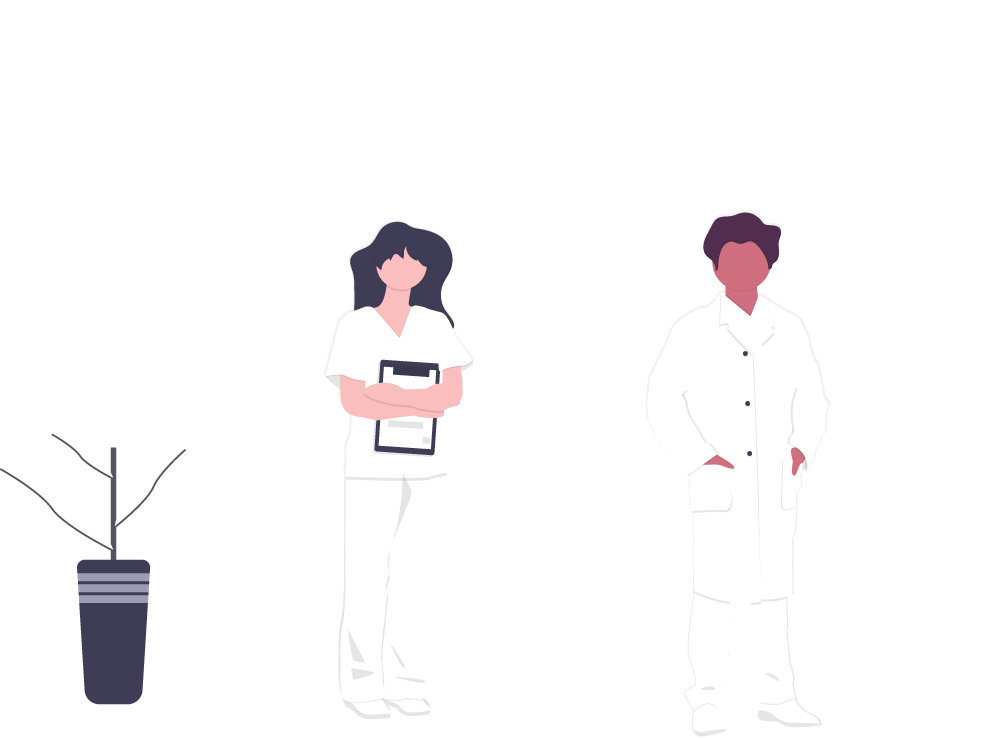 Illustration of a doctor with his hands in his pockets and a nurse holding a clipboard, both wearing all white.