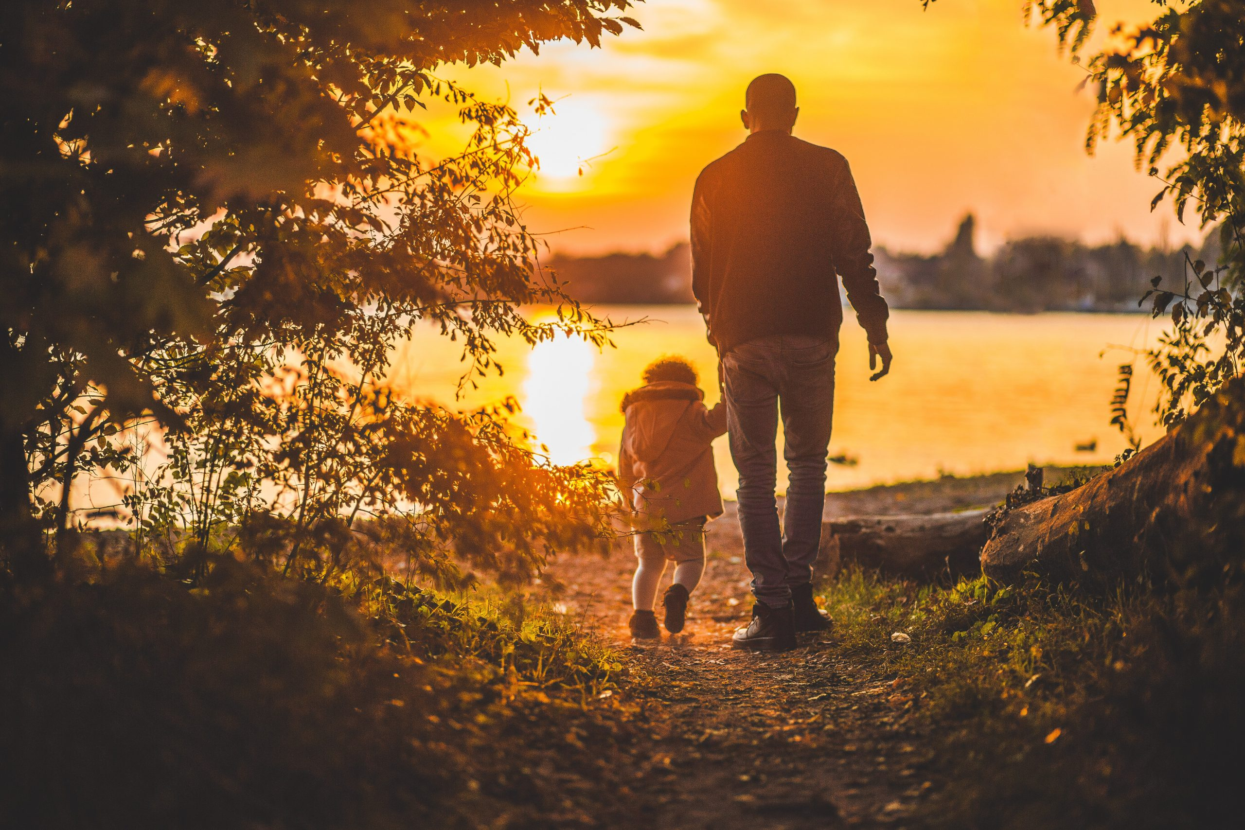 Image of a man and his daughter walking towards a lake sunset with brush to the left and right.
